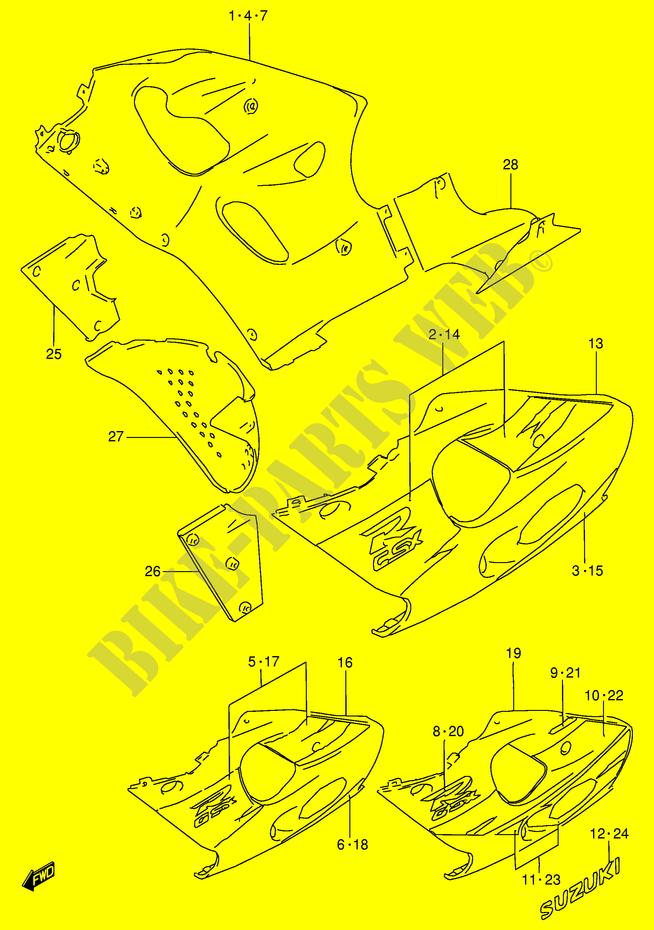 UNDER COWLING MODEL T Suzuki MOTO 750 GSX R 1998 GSX R750W E2 DP014888 model t body diagram trusted wiring diagram