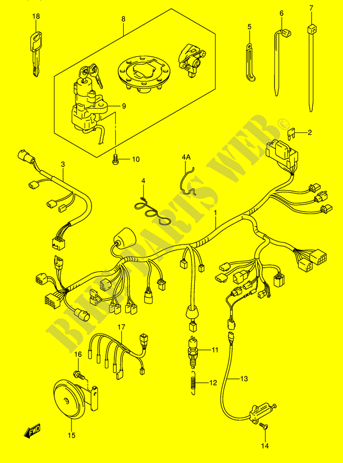 WIRING HARNESS GSF600SY SUY SK1 SK2 SUK1 SUK2 Suzuki Motorcycle 600 BANDIT 2004 GSF600K4 E2 DP015007 e2 wiring harness on e2 download wirning diagrams  at n-0.co