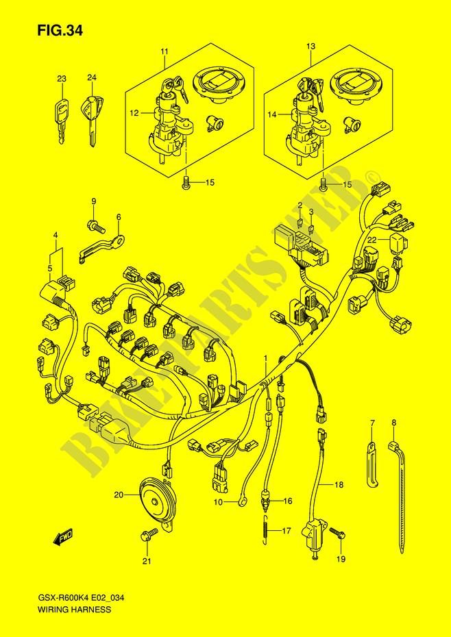 suzuki moto 600 gsx-r 2005 gsx-r600k5(e2) electrical wiring harness