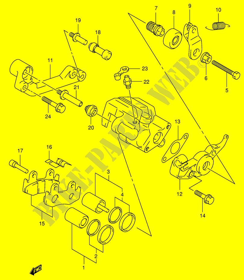 rear caliper (model x / y) for suzuki 400 burgman 1999