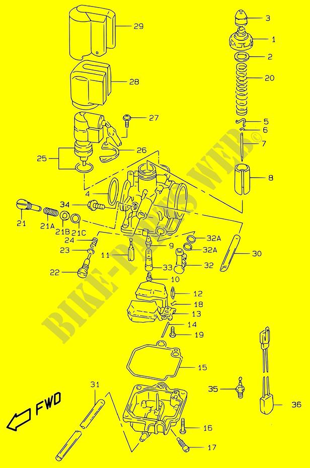 carburetor modele ay50wr k1 engine transmission ay50wryk1 2001 rh bike parts suz com