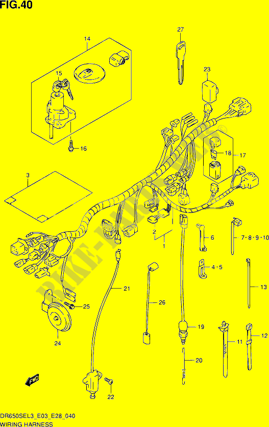 WIRING HARNESS (DR650SEL3 E33) for Suzuki DR 650 2013 ... on dog harness, obd0 to obd1 conversion harness, pet harness, radio harness, oxygen sensor extension harness, pony harness, cable harness, battery harness, nakamichi harness, amp bypass harness, suspension harness, maxi-seal harness, safety harness, alpine stereo harness, electrical harness, engine harness, fall protection harness,