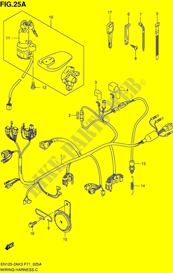 WIRING HARNESS (EN125 2AK7/EN125HUK7) for Suzuki 2008 ... on