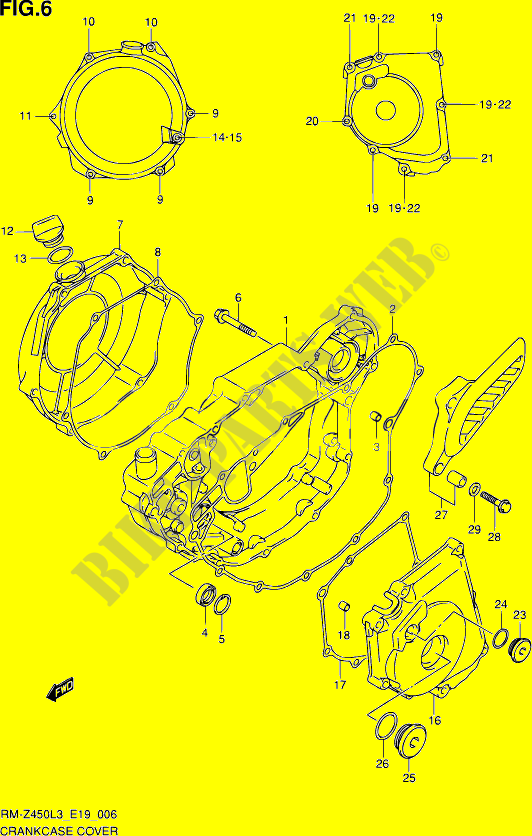 Suzuki Motorcycle 450 RM-Z 2013  RM-Z450 L3 (E19) ENGINE/TRANSMISSION CRACKCASE COVER