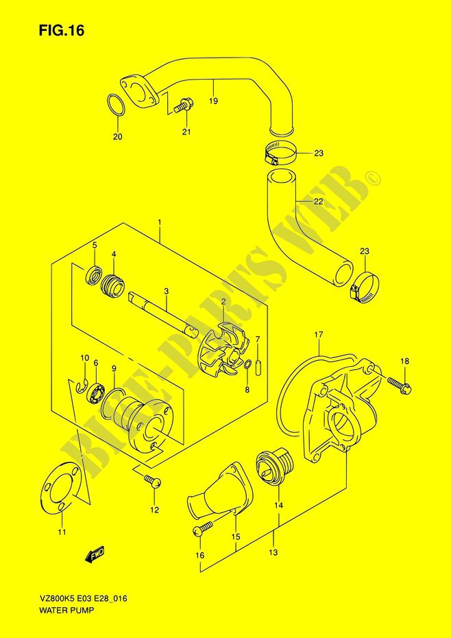 Water Pump Engine Transmission Vz800 K7 E03e28e33 2007 Marauder 800